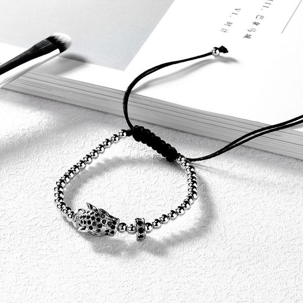 銅鍍白金 美洲豹造型水鑽手鍊 氣質優雅 低調奢華 閃亮耀眼 女生禮物 單件價【CKA518】Z.MO鈦鋼屋