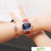 新品女士手錶時尚女款石英錶帶鉆女錶五星花型學生腕錶數字皮帶 【快速出貨】
