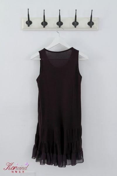 紫色下擺蕾絲波浪設計背心裙