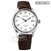 SEIKO 精工 / 6R15-03N0J / PRESAGE 機械錶 自動上鍊 真皮手錶 銀白x深咖啡 40mm