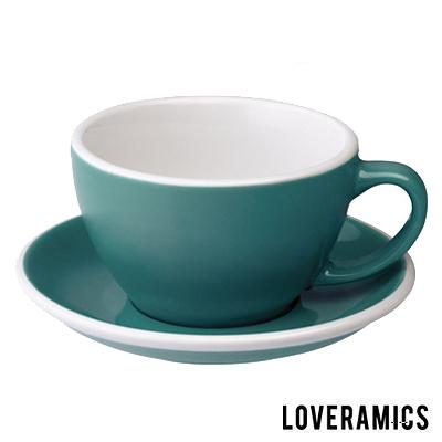 【LOVERAMICS 愛陶樂 】Egg 拿鐵咖啡杯盤組 300ml Teal 藍綠色