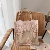 仙女包包女新款韓國蕾絲手提購物袋復古夏天刺繡托特包側背包 韓國時尚週
