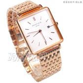 ROSEFIELD 歐風美學 時尚簡約 方形 不鏽鋼 女錶 防水手錶 玫瑰金x白 QWSR-Q18