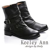★2016秋冬★Keeley Ann騎士風格~可反摺拼接雙皮帶飾釦造型低跟短靴(黑色)
