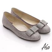 A.S.O 奢華美型 全真皮蝴蝶結金蔥平底鞋 銀紫色