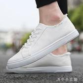 男士帆布鞋潮流百搭板鞋休閒小白潮鞋白色布鞋冬季男鞋子 千千女鞋