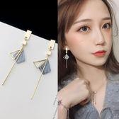 長款耳環女氣質韓國個性百搭壓克力耳釘網紅耳夾簡約耳墜純銀耳飾  可然精品