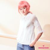 【SHOWCASE】泡泡蕾絲七分袖二件式雪紡襯衫(白)