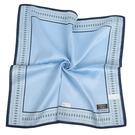 TRUSSARDI簡約菱格飾邊純綿男士帕巾(水藍色)989009-142