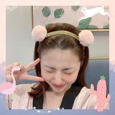 超萌粉色毛絨熊耳朵可愛彈力束發帶發箍發飾洗臉發帶 俏女孩