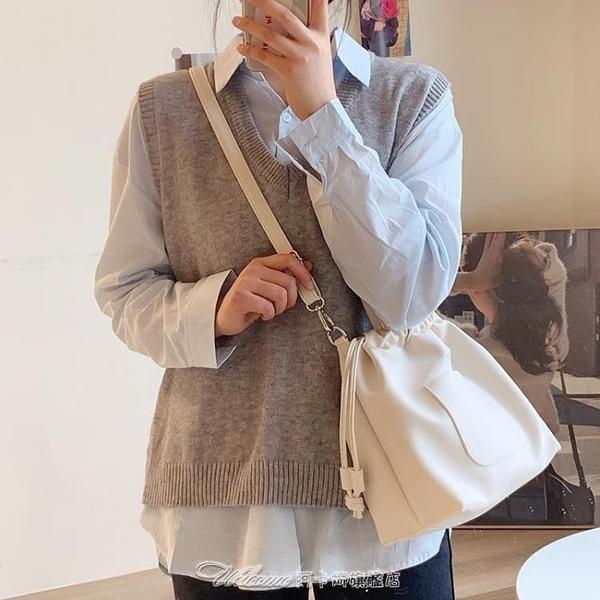 春夏新款韓國軟pu女包百搭抽繩單肩水桶包休閒斜挎包學生大容量包 阿卡娜