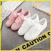 現貨-韓版學生蝴蝶結緞帶帆布鞋白鞋子板鞋潮 艾尚精品