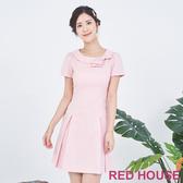 【RED HOUSE 蕾赫斯】圓領蝴蝶結素色洋裝(粉色)