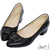 Ann'S鋼琴烤漆氣質方釦小羊皮粗低跟尖頭包鞋-黑