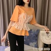 蕾絲假兩件短袖t恤女韓版寬鬆ins潮原宿風設計感小眾很仙的上衣服 七七小鋪