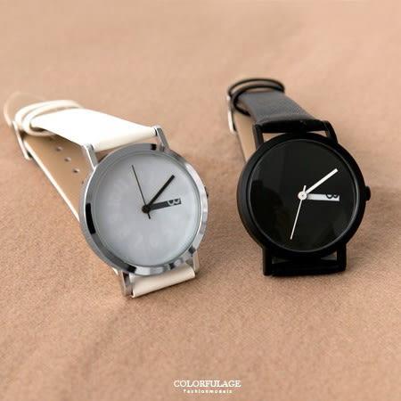 手錶 無印風格黑白隱藏數字質感皮革腕錶 創意款式 分針走動出現數字 柒彩年代【NE1833】中性款式