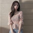 荷葉邊上衣 2021年夏季收腰顯瘦短袖襯衫設計感小眾荷葉邊碎花雪紡短款上衣女 韓國時尚週