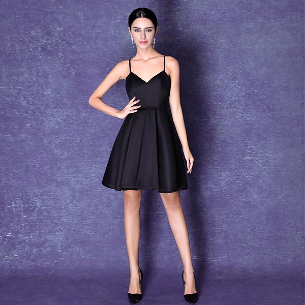 (45 Design) 現做  晚禮服女伴娘裝新款 雙肩修身伴娘小禮服短款