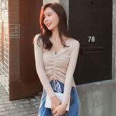 包芯紗韓版V領抽繩毛衣打底衫女長袖套頭針織打底衫457#DS1F-A15紅粉佳人