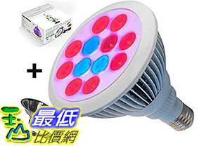 [美國直購] 燈泡 LED Grow Light Bulb With FREE Clamp Reflector By ProLedGrow 12 LEDS In Blue Red Light B01D