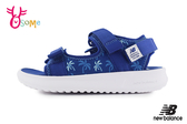 New Balance 750 中大童涼鞋 成人女款 椰樹花紋 透氣清涼 運動涼鞋 O8534#藍色◆OSOME奧森鞋業