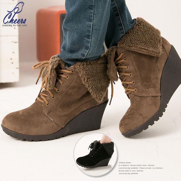 靴。Cheers*毛呢反摺格紋內裡休閒感楔型踝靴-兩色 現貨【ELF2145】