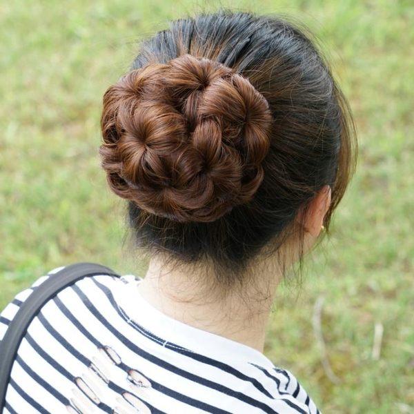 包包頭韓系假髮髮包九朵花鯊魚夾假髮圈女盤髮新娘丸子頭髮包抓夾花苞頭