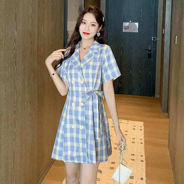 VK旗艦店 韓國風西裝收腰顯瘦氣質格紋短袖洋裝