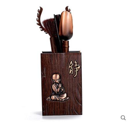 黑檀實木茶道六君子組合靜自在鋁合金雕刻茶藝擺件零配茶勺茶夾