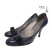 【巴黎站二手名牌專賣店】*現貨*Salvatore Ferragamo 真品*深藍色蝴蝶結飾高跟鞋 (6號)