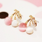 【NiNi Me】夾式耳環 甜美可愛小櫻桃水果貓眼石鑲鑽時尚氣質夾式耳環  夾式耳環N9027
