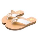 PLAYBOY V型寬帶真皮涼拖鞋-白(Y7320)