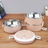不銹鋼飯缸便當盒雙層保溫分割兩層大容量加厚圓形 JA1058 『伊人雅舍』
