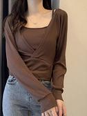 假兩件長袖t恤女2021年新款秋季韓版修身百搭外穿打底衫上衣ins潮寶貝計畫
