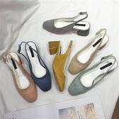 韓國后空高跟鞋2018春夏新款小清新方頭粗跟單鞋女復古中跟一字扣