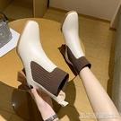 高跟短靴短靴女粗跟秋冬季新款方頭高跟顯瘦皮靴網紅時尚切爾西時裝靴 【快速出貨】