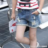 女童牛仔短褲新款夏韓版時尚中大童破洞女孩薄款兒童褲子  LannaS