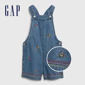 Gap女幼活力花卉刺繡背帶牛仔短褲539044-中度靛藍