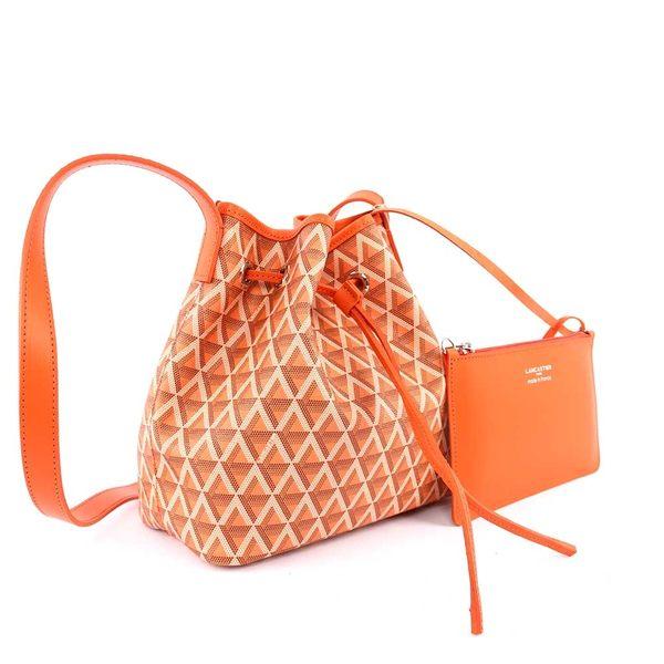 【LANCASTER】IKON系列幾何圖形牛皮側背水桶包(小)(南瓜橘) 418-01 ORANGE