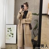 針織外套 秋冬季新款韓版女裝慵懶風寬鬆加厚中長款針織開衫毛衣外套女 『極致男人』