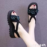 羅馬涼鞋 坡跟涼鞋女2021年夏季新款百搭網紅水鉆仙女風羅馬厚底鬆糕ins潮 艾家