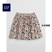 Gap女童 趣味印花寬擺半身短裙 336788-多彩蝴蝶
