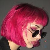 歐美假髮女短髮空氣劉海蓬松亮紅色短直髮【南風小舖】