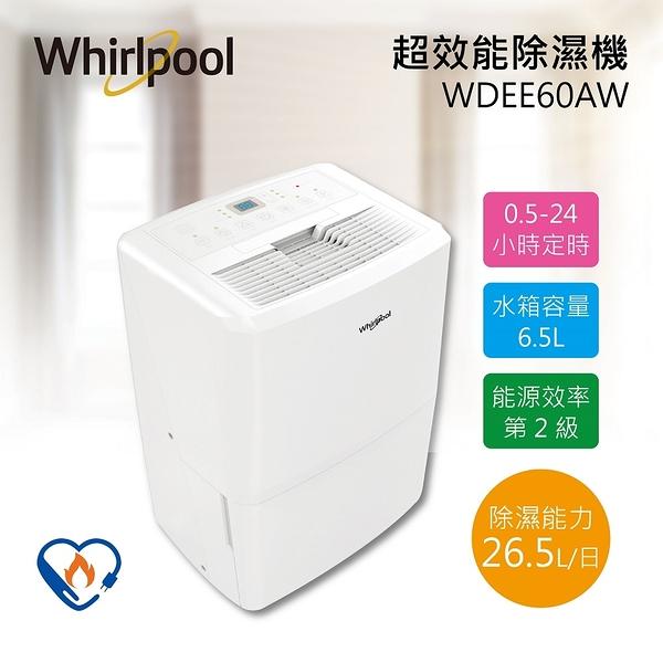 【拆封福利品】Whirlpool 惠而浦 26.5公升 高效能除濕機 WDEE60AW 公司貨