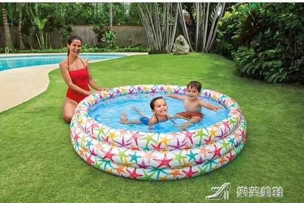 INTEX彩色家用水池家庭海洋球池嬰兒游泳池沙池小孩充氣戲水玩具 igo 樂芙美鞋