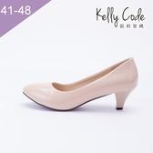 大尺碼女鞋-凱莉密碼-夏日純色女鞋漆皮款粗跟上班族最愛中跟6cm(41-48)【YP615】杏色 #現貨