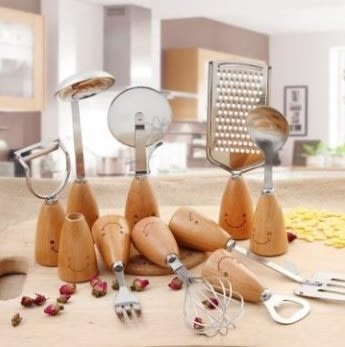 預購-創意家居不鏽鋼餐具套裝 笑臉木質不鏽鋼飯勺