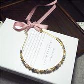 鑲鑽髮圈(任兩件)-唯美氣質綁帶設計女髮箍2款73gi37[時尚巴黎]