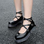 英倫學院小皮鞋女厚底軟妹洛麗塔系帶圓頭單鞋娃娃鞋原宿淺口女鞋『小淇嚴選』