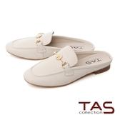 TAS一字小雛菊飾釦牛皮穆勒鞋-百搭米